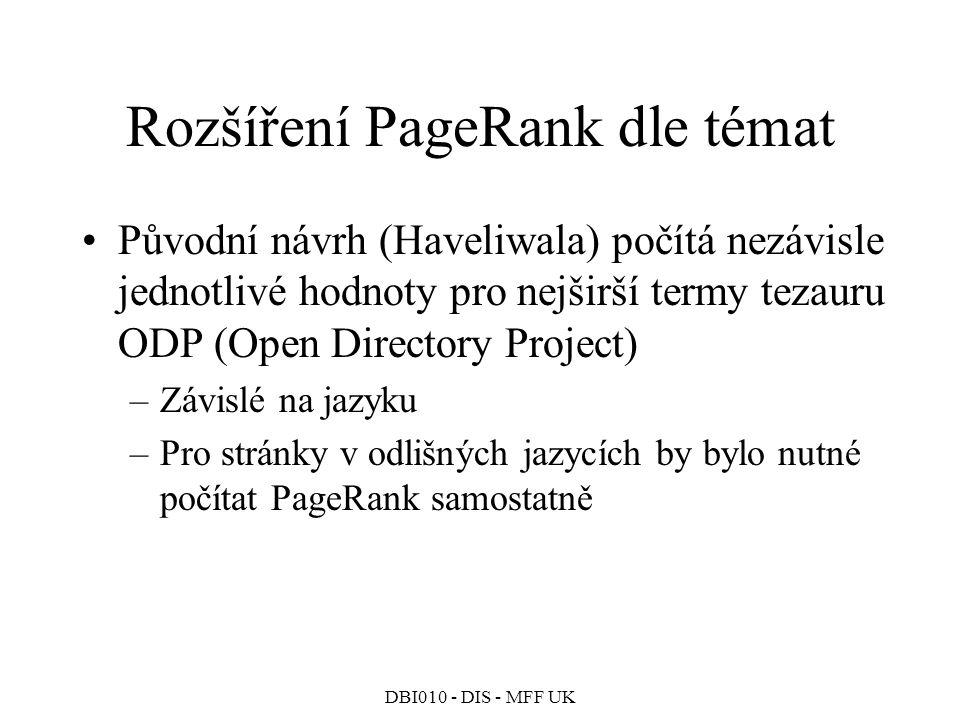 Rozšíření PageRank dle témat