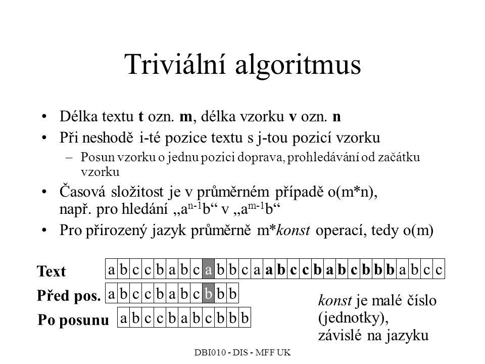 Triviální algoritmus Délka textu t ozn. m, délka vzorku v ozn. n
