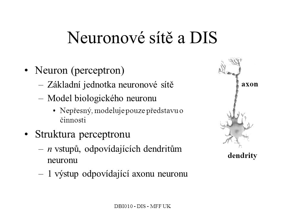 Neuronové sítě a DIS Neuron (perceptron) Struktura perceptronu
