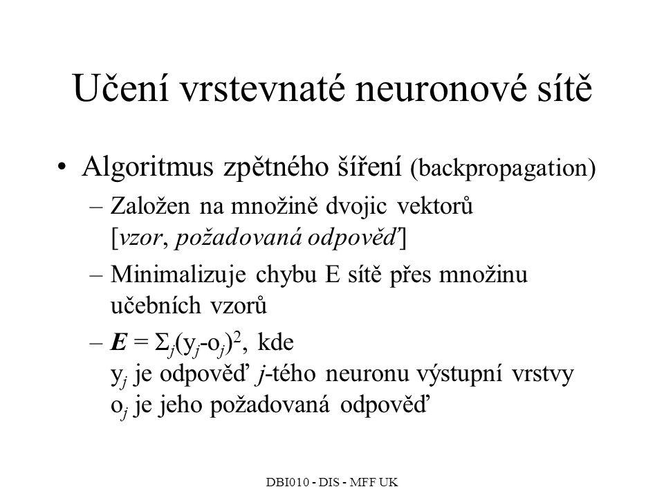 Učení vrstevnaté neuronové sítě