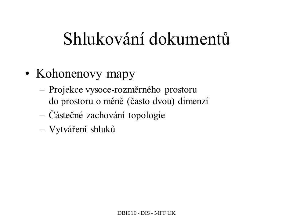 Shlukování dokumentů Kohonenovy mapy