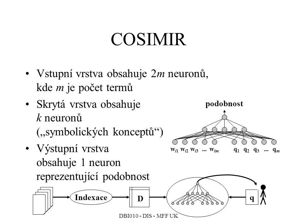 COSIMIR Vstupní vrstva obsahuje 2m neuronů, kde m je počet termů