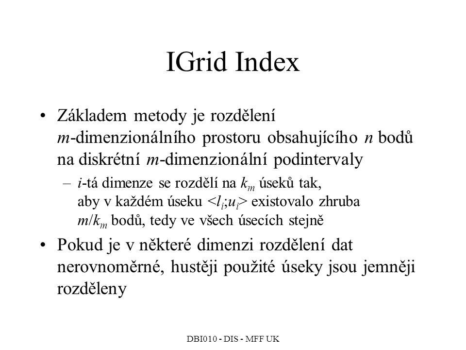 IGrid Index Základem metody je rozdělení m-dimenzionálního prostoru obsahujícího n bodů na diskrétní m-dimenzionální podintervaly.
