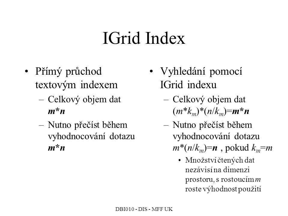 IGrid Index Přímý průchod textovým indexem
