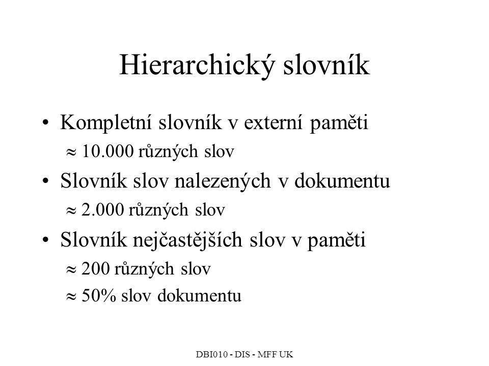 Hierarchický slovník Kompletní slovník v externí paměti
