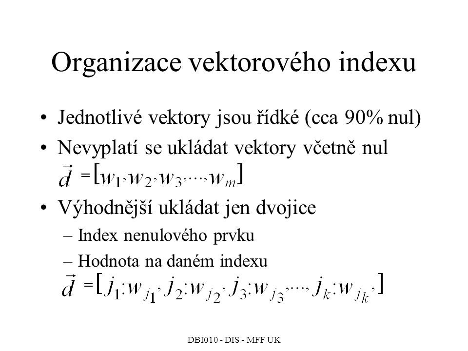 Organizace vektorového indexu
