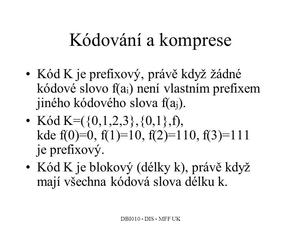 Kódování a komprese Kód K je prefixový, právě když žádné kódové slovo f(ai) není vlastním prefixem jiného kódového slova f(aj).