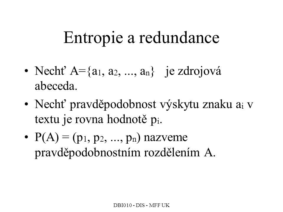 Entropie a redundance Nechť A={a1, a2, ..., an} je zdrojová abeceda.