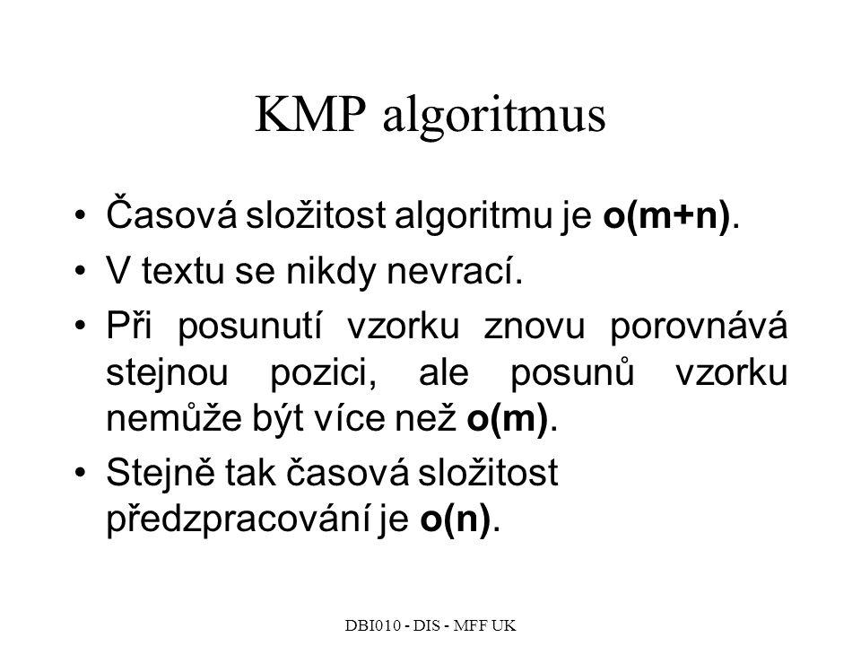 KMP algoritmus Časová složitost algoritmu je o(m+n).