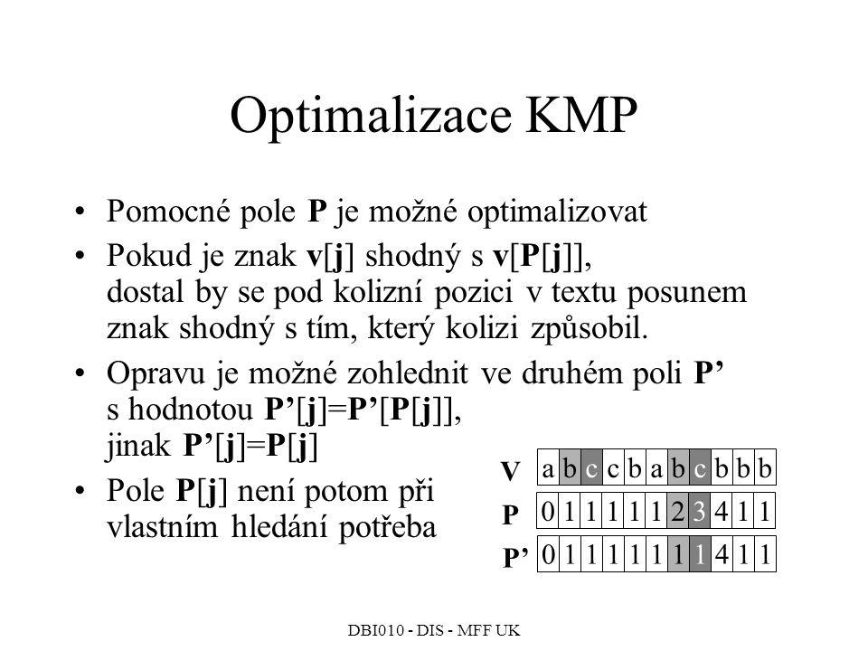 Optimalizace KMP Pomocné pole P je možné optimalizovat
