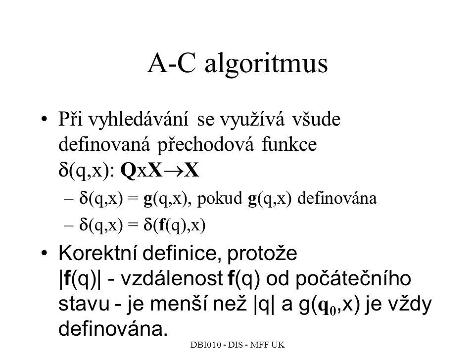 A-C algoritmus Při vyhledávání se využívá všude definovaná přechodová funkce (q,x): QxXX. (q,x) = g(q,x), pokud g(q,x) definována.