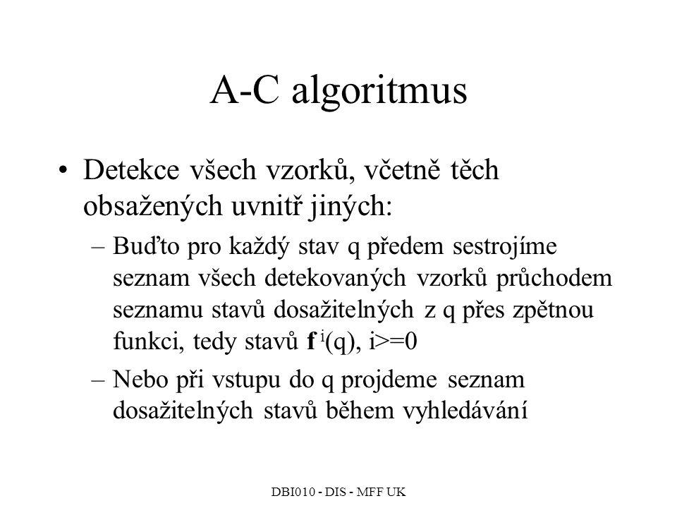A-C algoritmus Detekce všech vzorků, včetně těch obsažených uvnitř jiných: