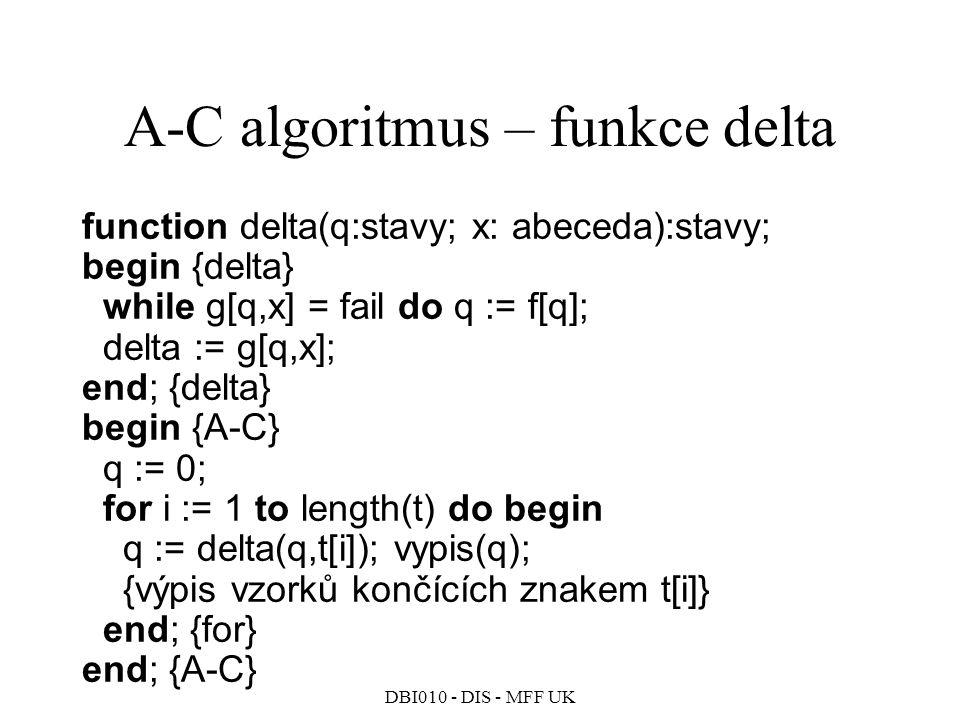 A-C algoritmus – funkce delta