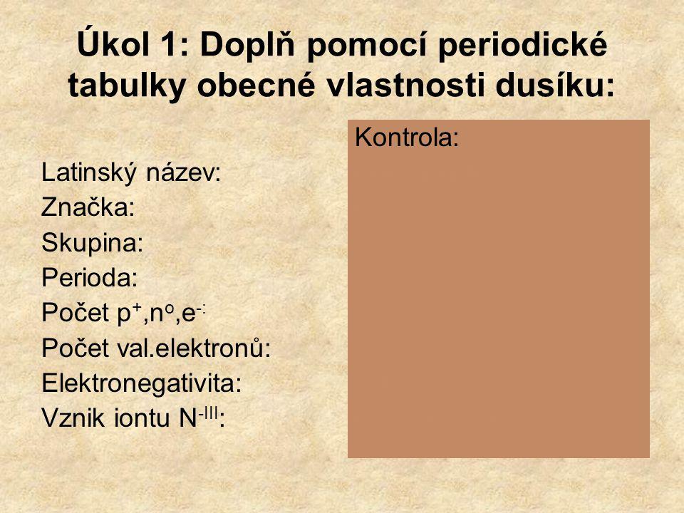 Úkol 1: Doplň pomocí periodické tabulky obecné vlastnosti dusíku: