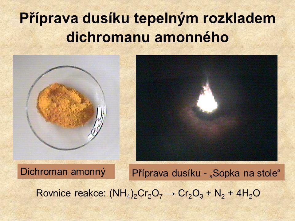 Příprava dusíku tepelným rozkladem dichromanu amonného