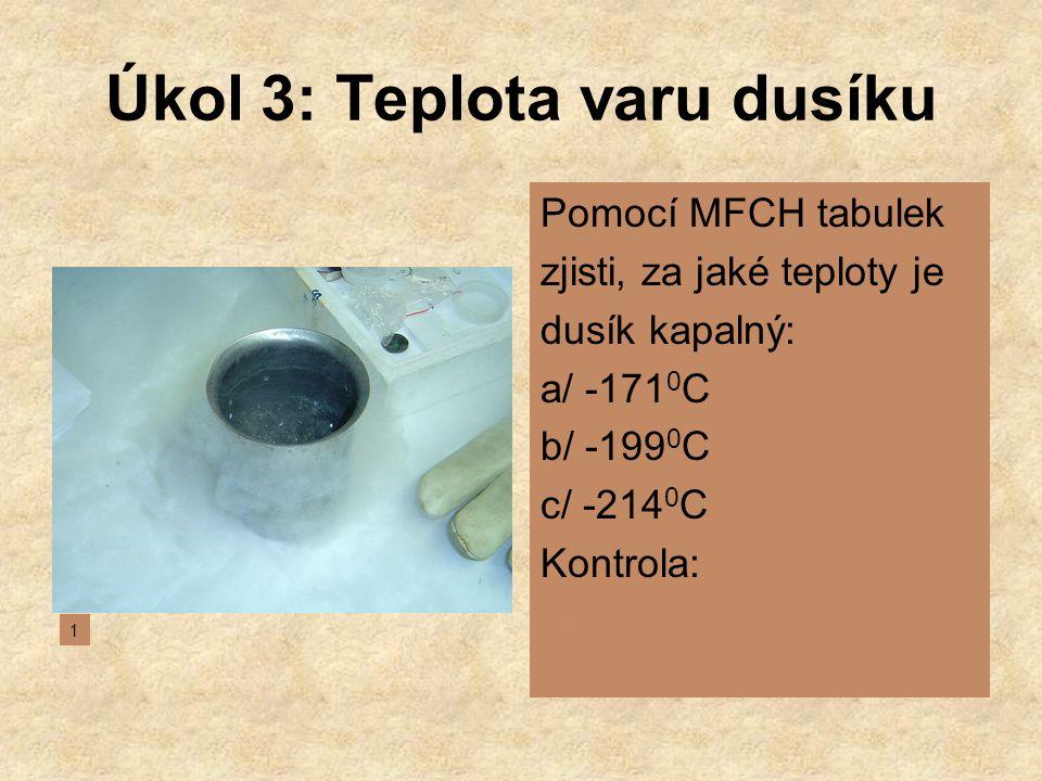 Úkol 3: Teplota varu dusíku
