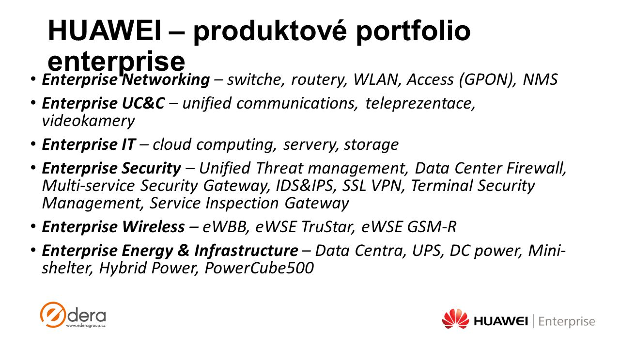 HUAWEI – produktové portfolio enterprise