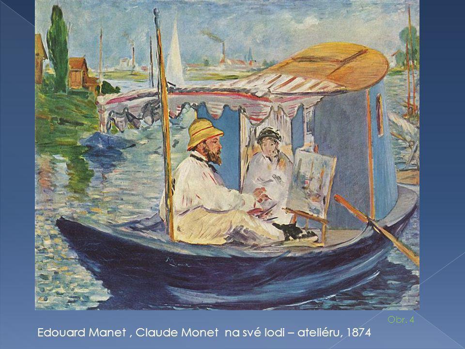 Edouard Manet , Claude Monet na své lodi – ateliéru, 1874