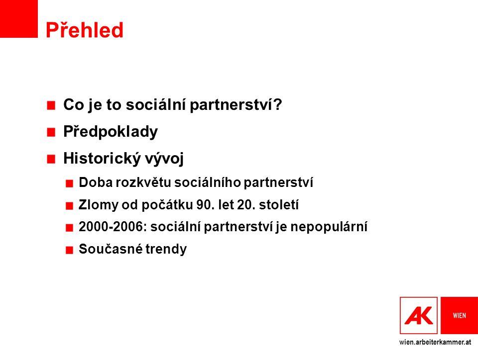 Přehled Co je to sociální partnerství Předpoklady Historický vývoj