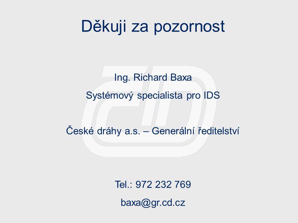Děkuji za pozornost Ing. Richard Baxa Systémový specialista pro IDS
