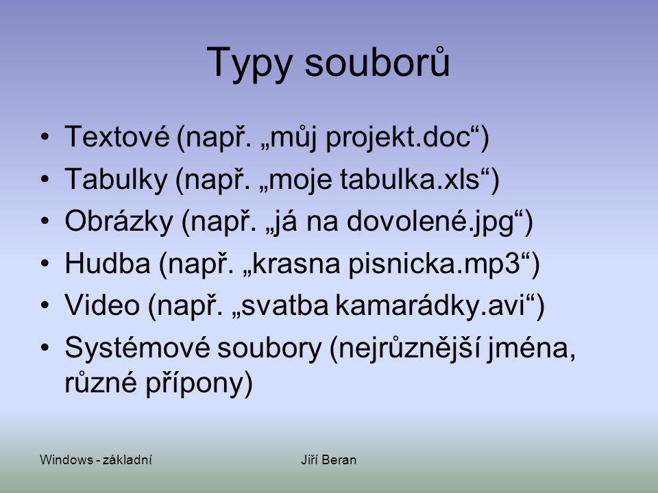 """Typy souborů Textové (např. """"můj projekt.doc )"""