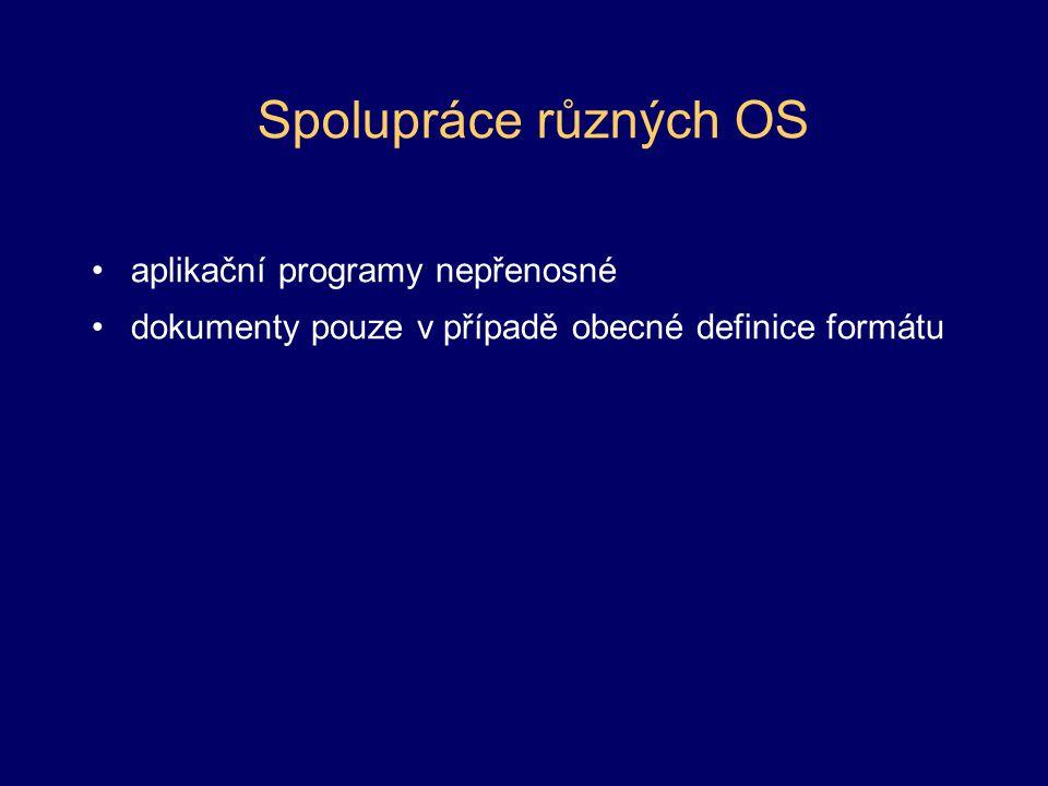 Spolupráce různých OS aplikační programy nepřenosné