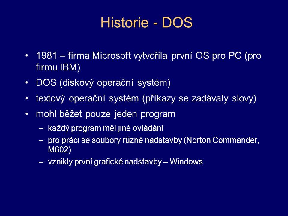 Historie - DOS 1981 – firma Microsoft vytvořila první OS pro PC (pro firmu IBM) DOS (diskový operační systém)