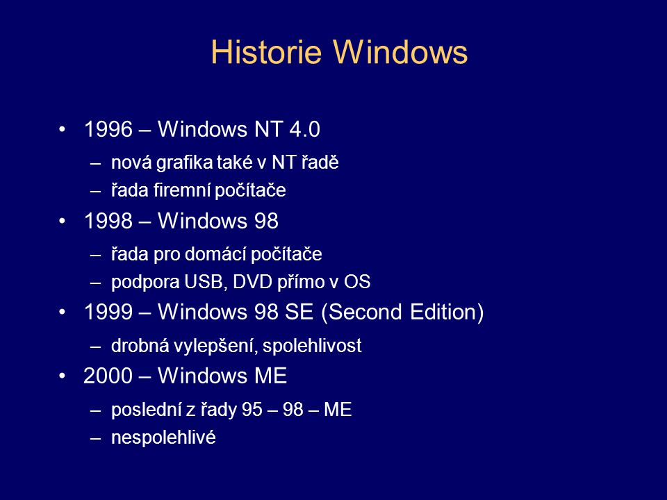 Historie Windows 1996 – Windows NT 4.0 1998 – Windows 98