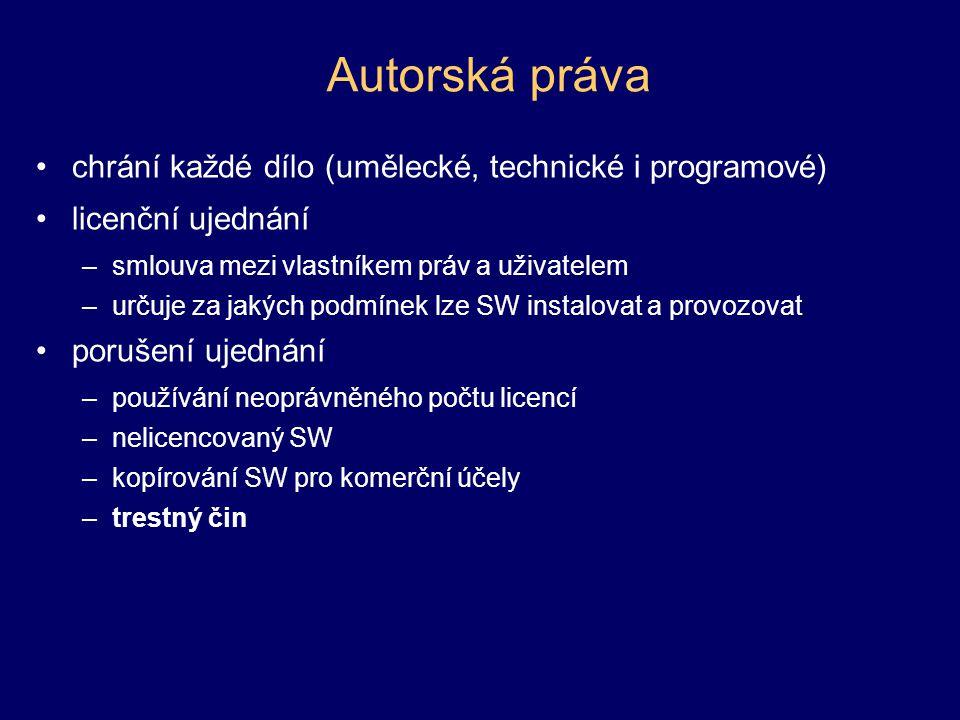 Autorská práva chrání každé dílo (umělecké, technické i programové)