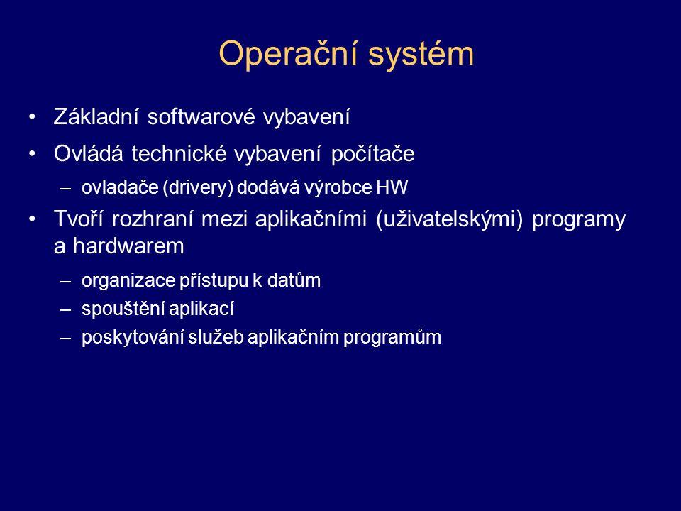 Operační systém Základní softwarové vybavení