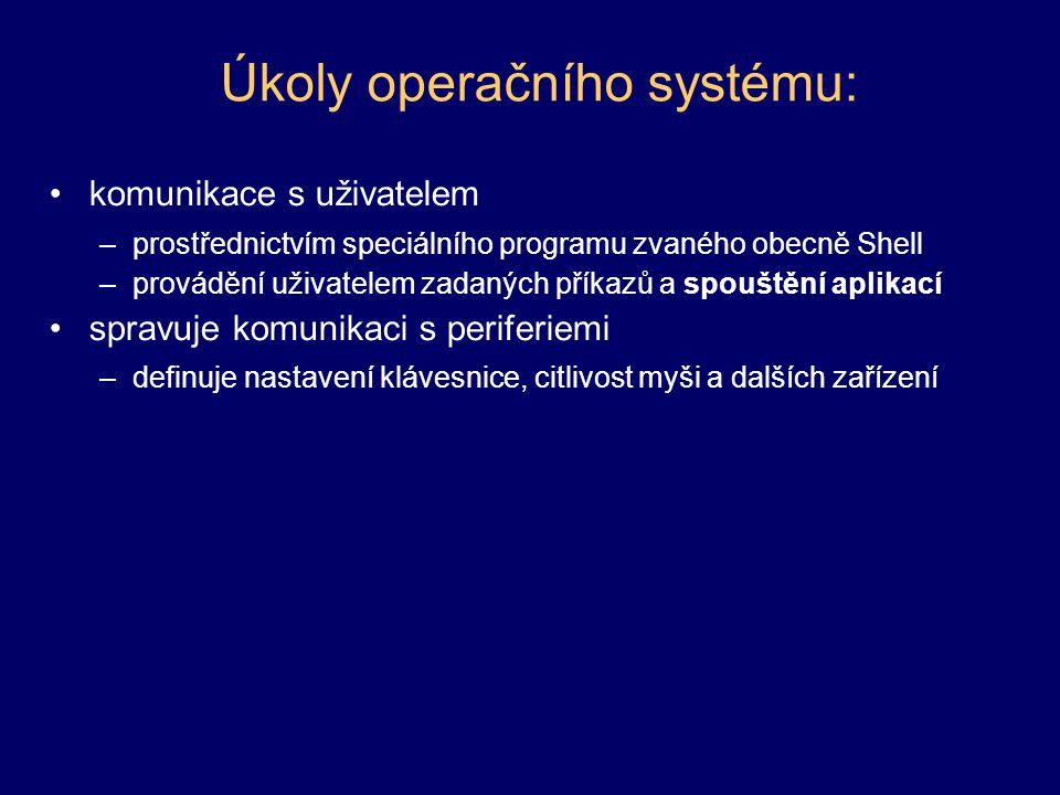 Úkoly operačního systému: