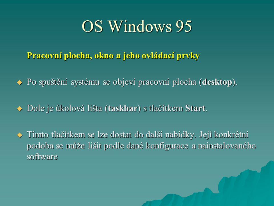 OS Windows 95 Pracovní plocha, okno a jeho ovládací prvky