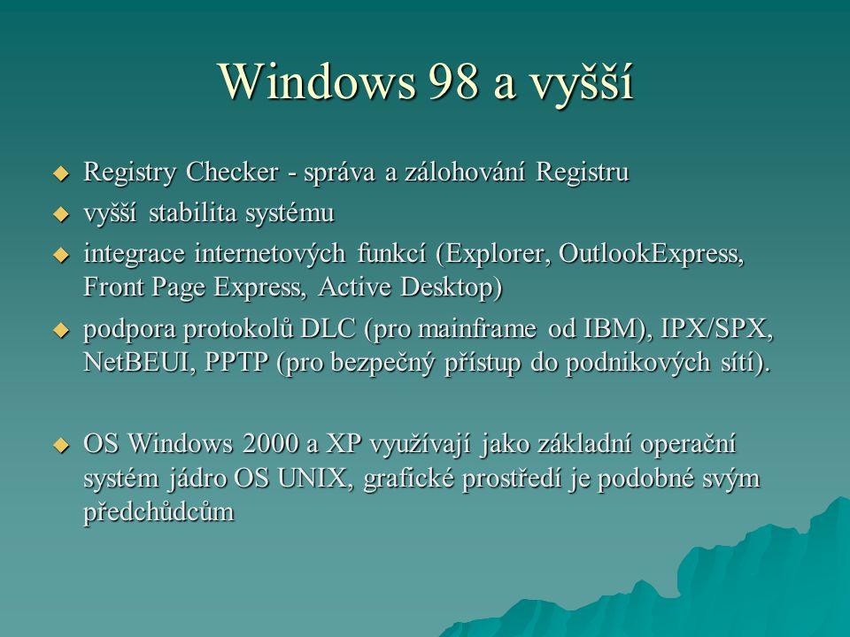 Windows 98 a vyšší Registry Checker - správa a zálohování Registru