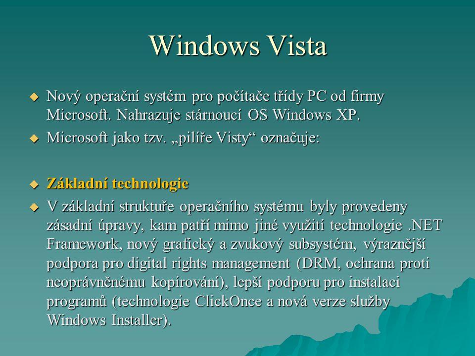 Windows Vista Nový operační systém pro počítače třídy PC od firmy Microsoft. Nahrazuje stárnoucí OS Windows XP.