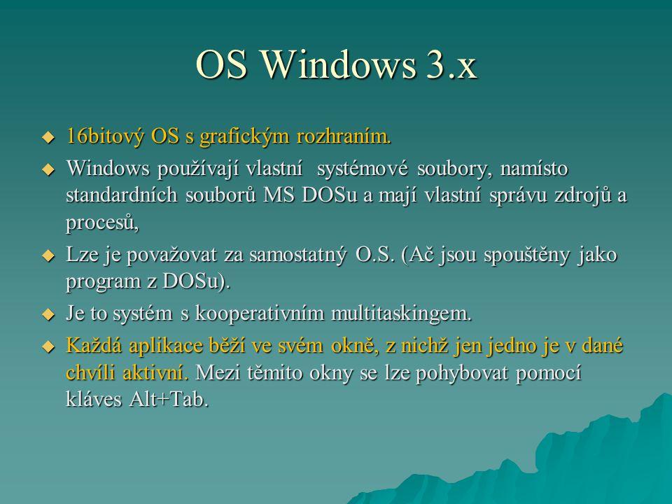 OS Windows 3.x 16bitový OS s grafickým rozhraním.