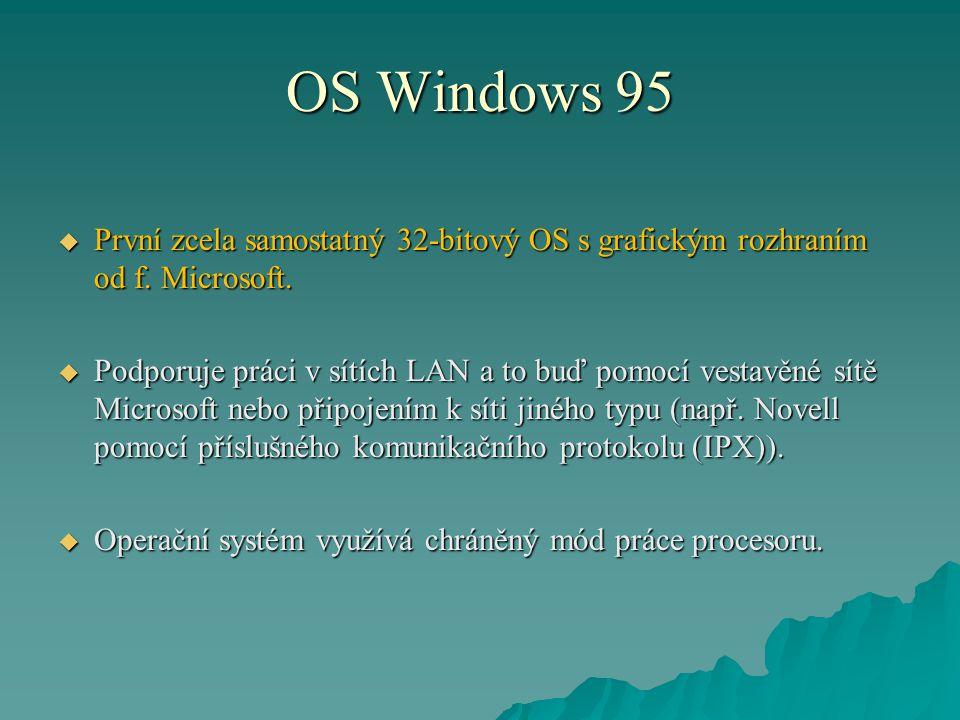OS Windows 95 První zcela samostatný 32-bitový OS s grafickým rozhraním od f. Microsoft.