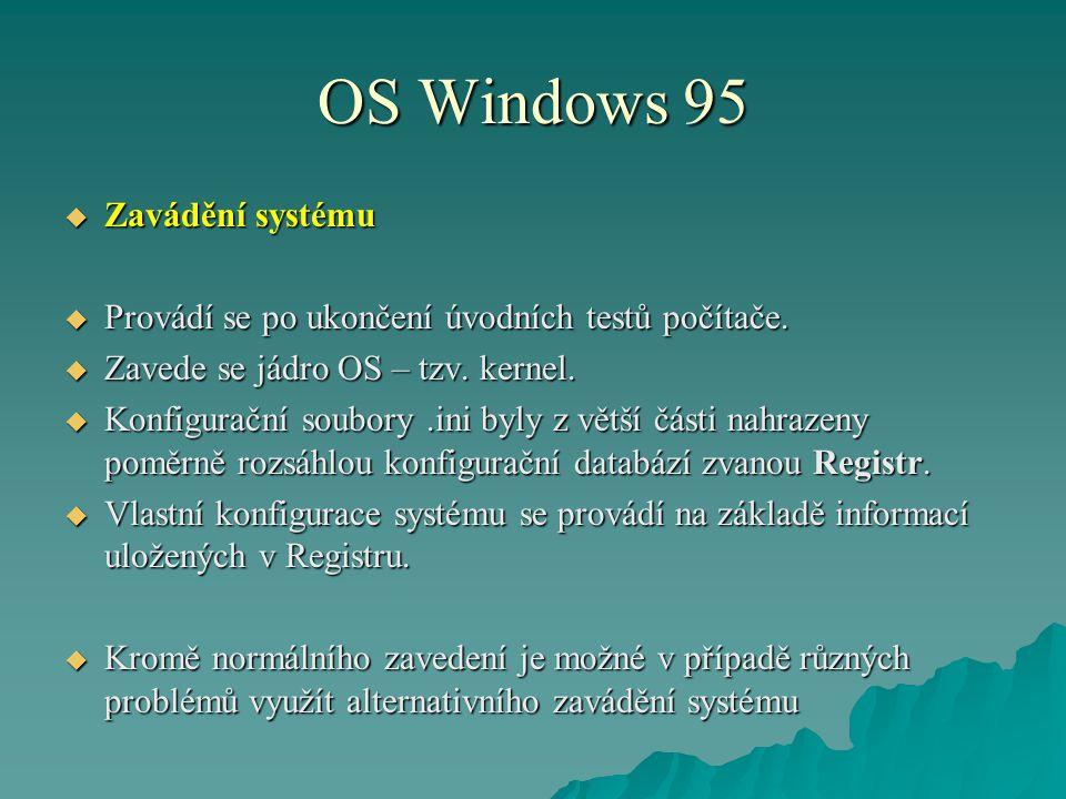 OS Windows 95 Zavádění systému