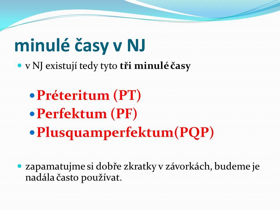 minulé časy v NJ Préteritum (PT) Perfektum (PF) Plusquamperfektum(PQP)