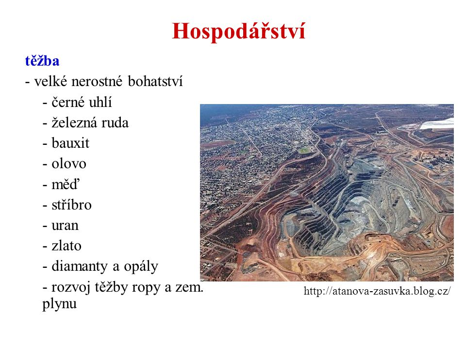 Hospodářství těžba - velké nerostné bohatství - černé uhlí