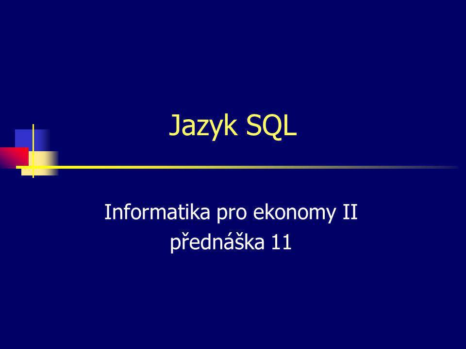 Informatika pro ekonomy II přednáška 11
