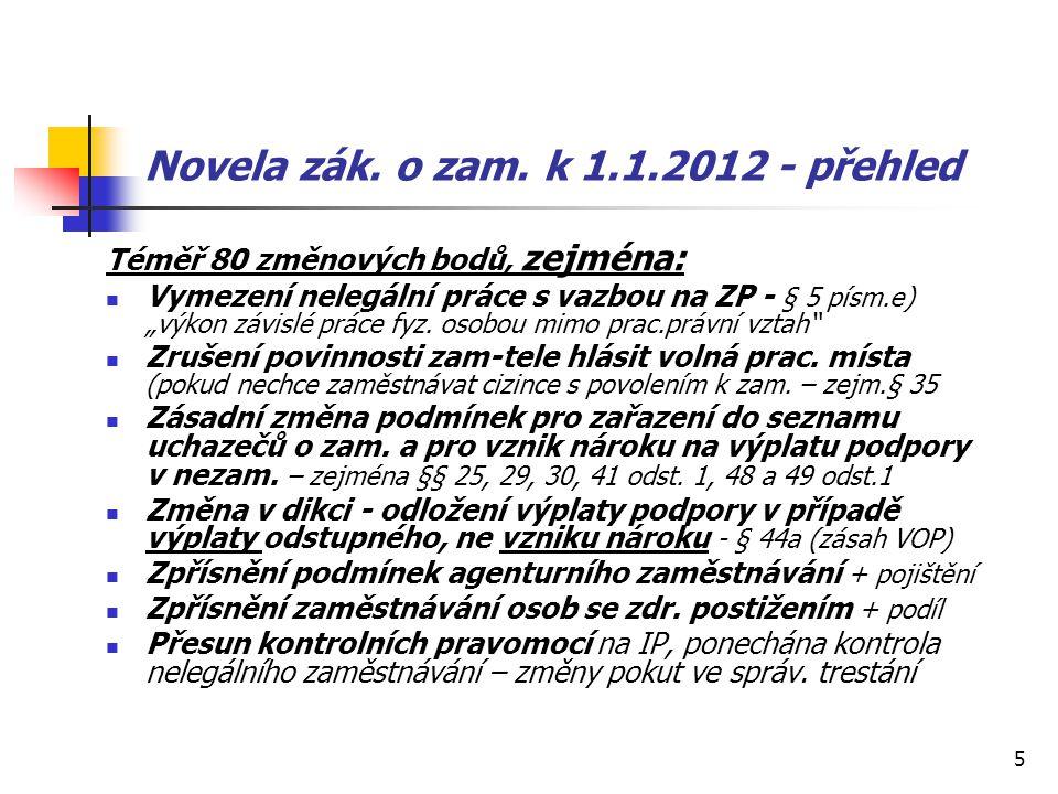 Novela zák. o zam. k 1.1.2012 - přehled