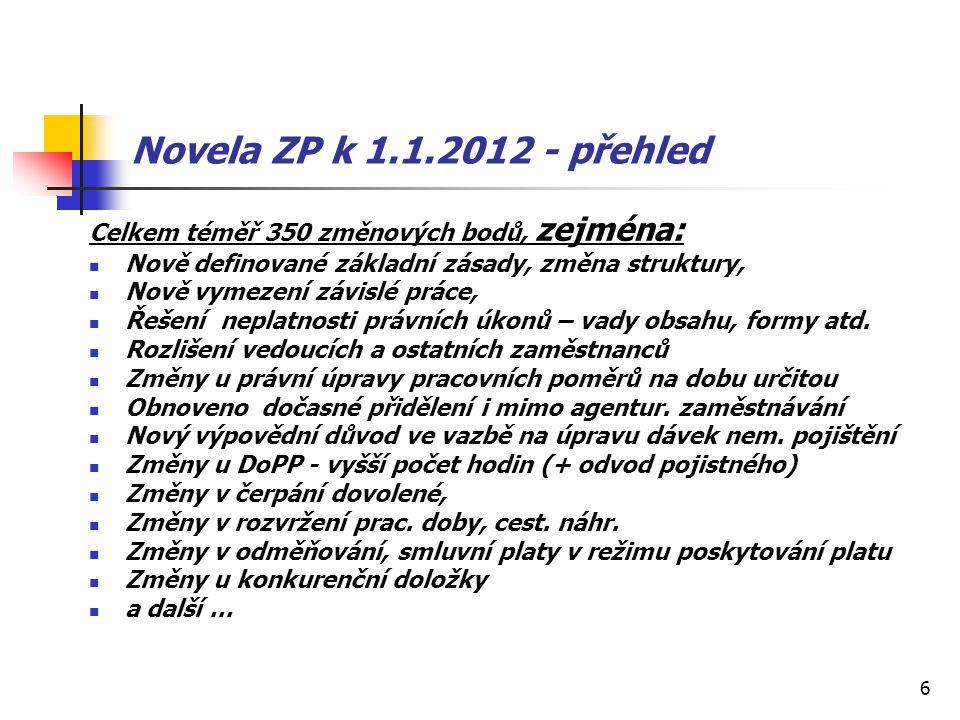 Novela ZP k 1.1.2012 - přehled Celkem téměř 350 změnových bodů, zejména: Nově definované základní zásady, změna struktury,