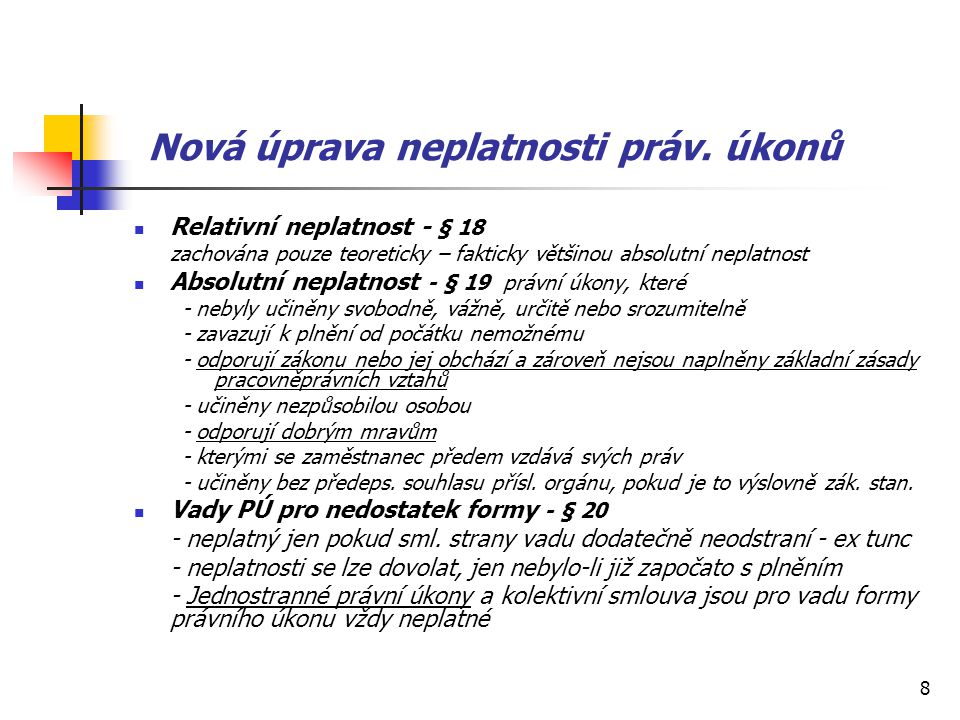 Nová úprava neplatnosti práv. úkonů