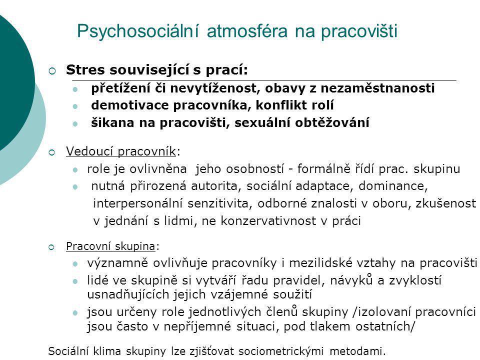 Psychosociální atmosféra na pracovišti
