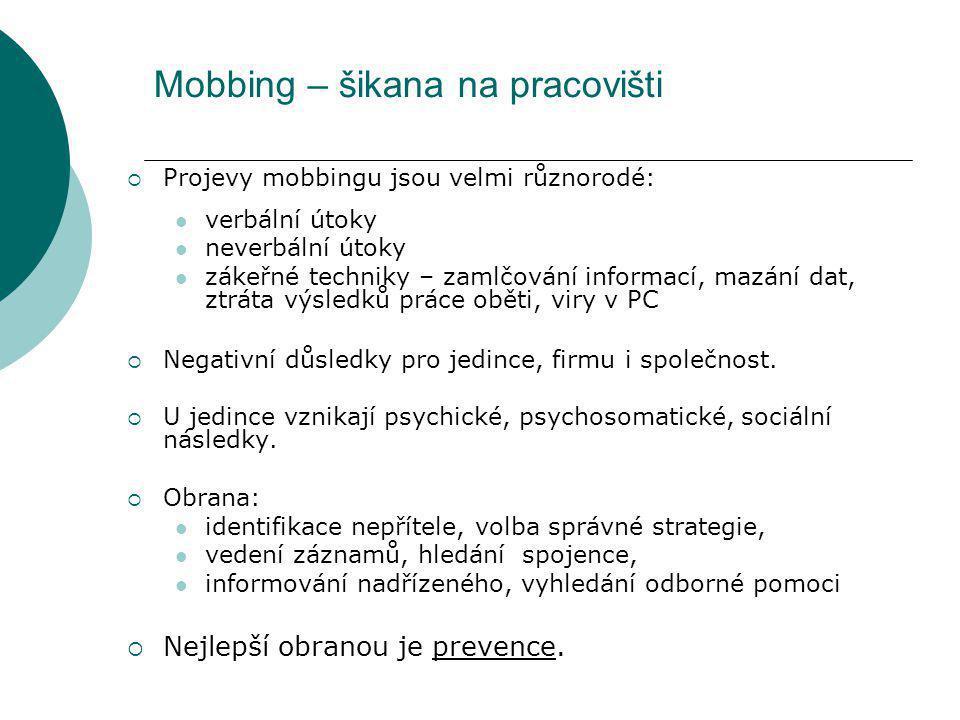 Mobbing – šikana na pracovišti