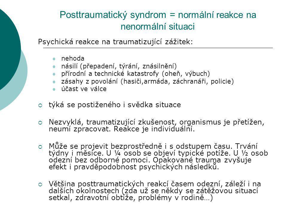Posttraumatický syndrom = normální reakce na nenormální situaci