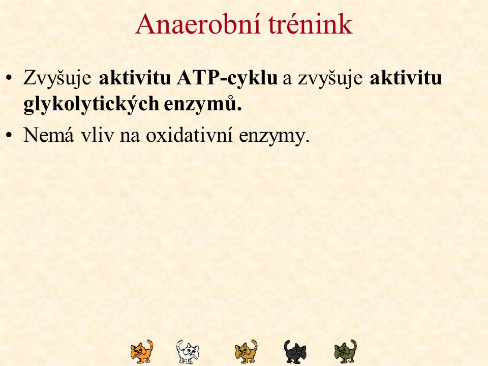 Anaerobní trénink Zvyšuje aktivitu ATP-cyklu a zvyšuje aktivitu glykolytických enzymů.