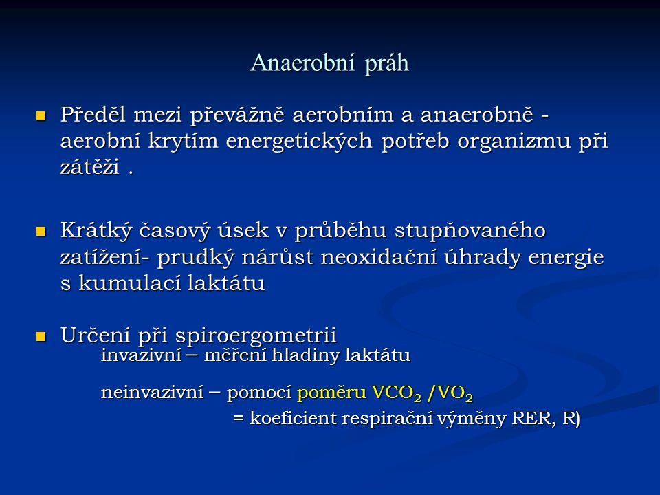 Anaerobní práh Předěl mezi převážně aerobním a anaerobně - aerobní krytím energetických potřeb organizmu při zátěži .