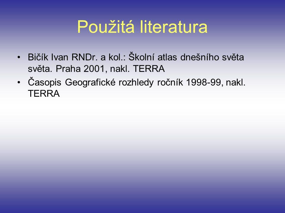 Použitá literatura Bičík Ivan RNDr. a kol.: Školní atlas dnešního světa světa. Praha 2001, nakl. TERRA.