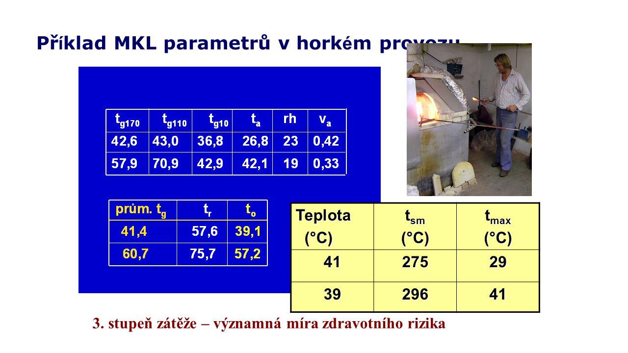 Příklad MKL parametrů v horkém provozu
